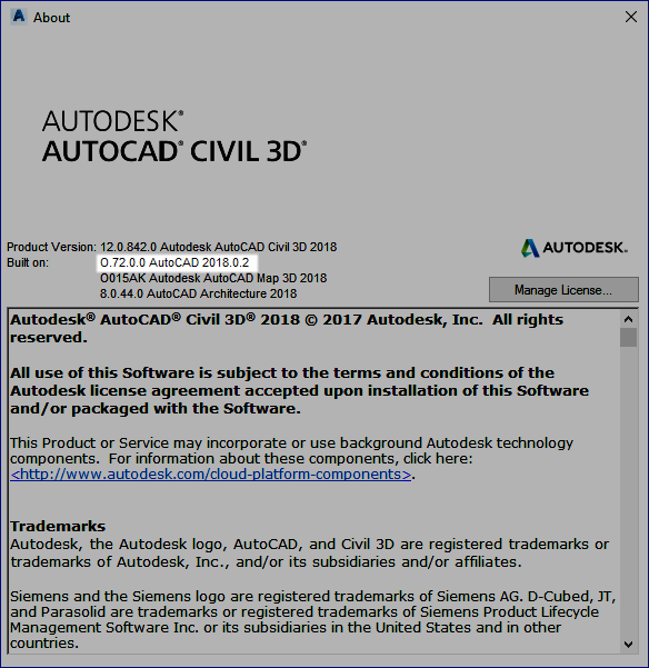 Update Applied to AutoCAD Civil 3D 2018