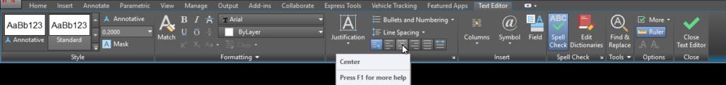 AutoCAD Multiline Text Editor