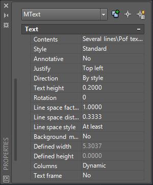 AutoCAD Multiline Text Properties