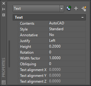 AutoCAD Single-Line Text Properties
