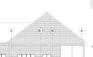 Roof elevation with overridden dashed lines