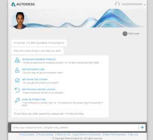 Autodesk Virtual Agent Entry Screen
