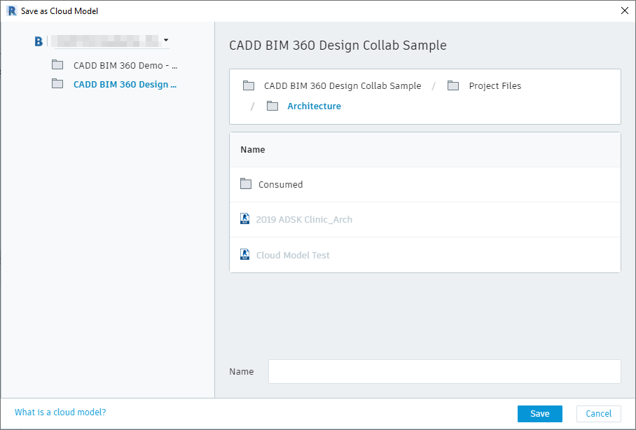 Saving a BIM 360 Cloud Model in Revit 2019