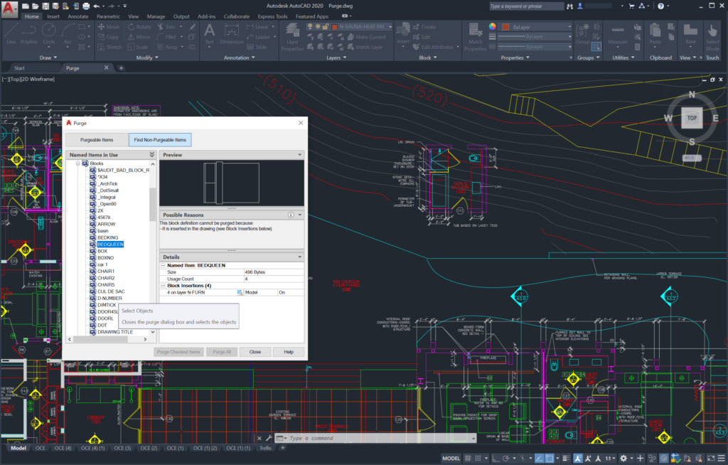 AutoCAD 2020 - Identify Non-Purgeable Items