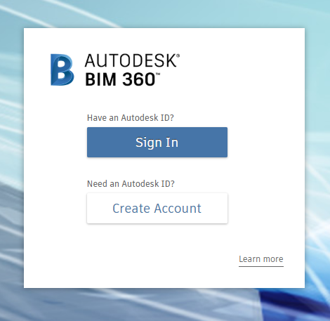 BIM 360 Administration Portal Signin Screen