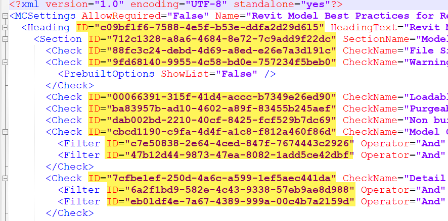 Text editor view of Model Checker checkset XML with new IDs highlighted