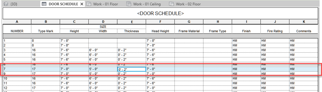 Revit highlighted row