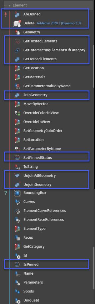 Screen shot of Dynamo Revit Element nodes. Highlighting new nodes.