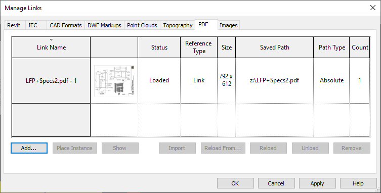 Screen shot of Revit 2021 Manage Link dialog showing a linked PDF