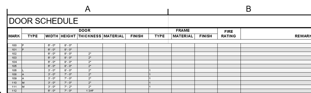 Door schedule on Sheet showing new row striping feature. linking Images & PDFS