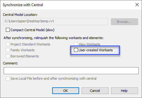 Synchronize with Central Dialog with User-Create Worksets Highlighted.