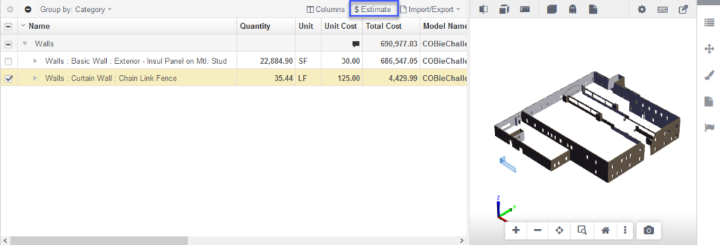Assemble - Inventory view w/ Estimate Highlighted