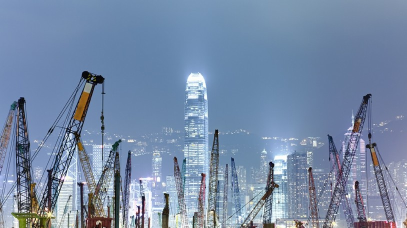 One of many construction sites in Hong Kong.