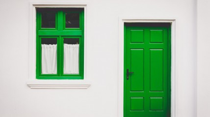 home-green-door