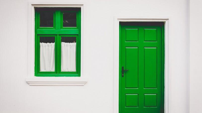 home-green-door