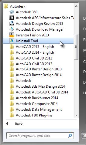 Starting the Autodesk Uninstall Tool