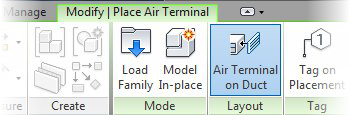 Autodesk Revit MEP - Duct Terminal in the Ribbon
